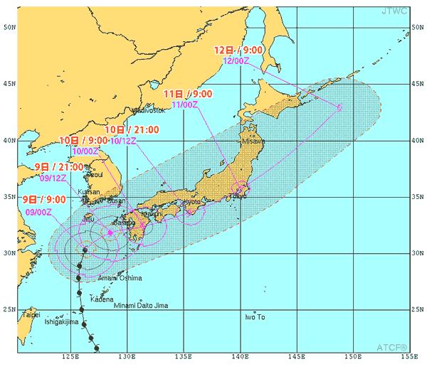 米軍の台風進路予想図(2014/07/09 12:00現在)