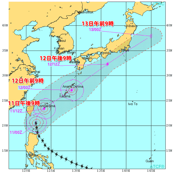 台風6号(2015)・米軍の最新進路予報情報解説_2015-05-08_1200